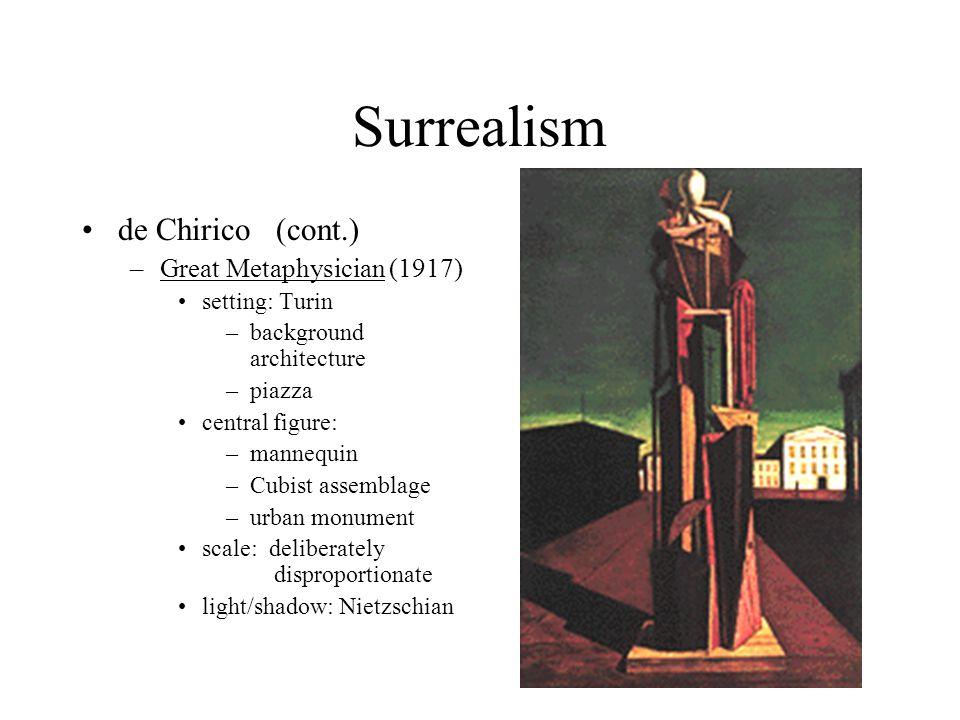 Surrealism de Chirico (cont.) Great Metaphysician (1917)