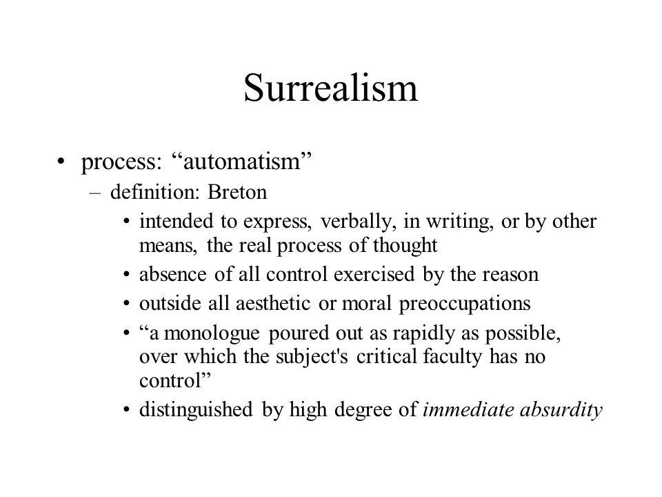 Surrealism process: automatism definition: Breton