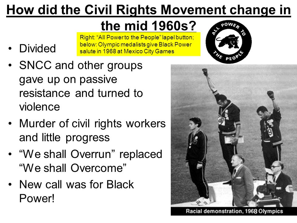 How did the Civil Rights Movement change in the mid 1960s