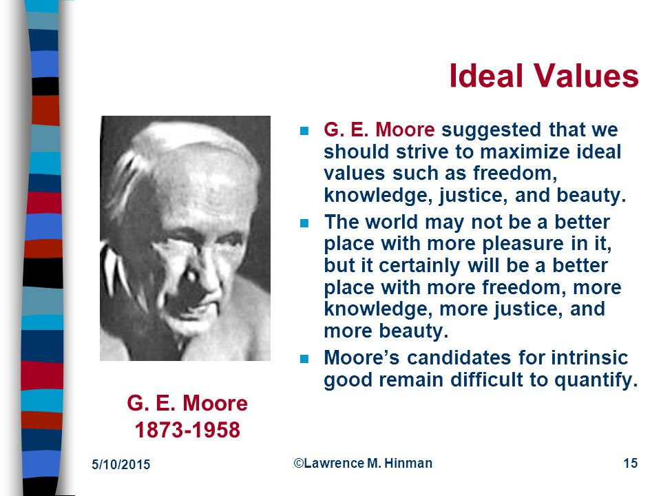 4/15/2017 Ideal Values. G. E. Moore suggested that we should strive to maximize ideal values such as freedom, knowledge, justice, and beauty.