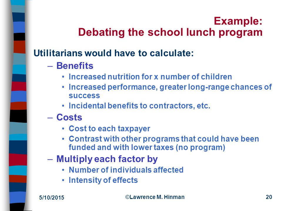 Example: Debating the school lunch program