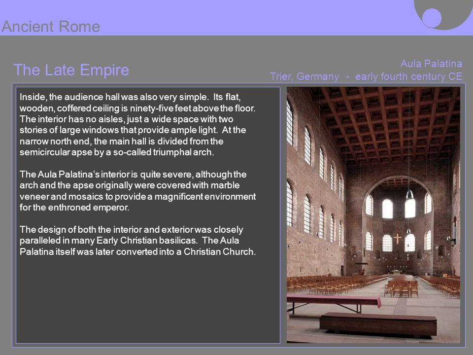 Ancient Rome The Late Empire Aula Palatina