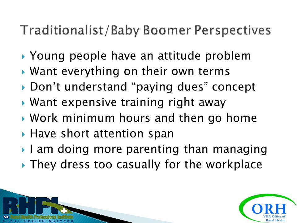 Traditionalist/Baby Boomer Perspectives