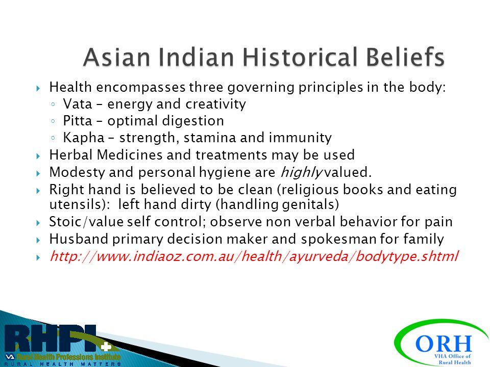Asian Indian Historical Beliefs