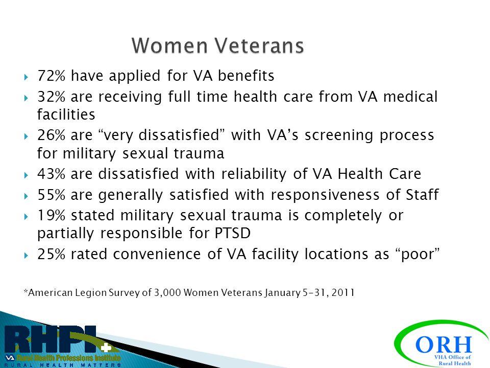 Women Veterans 72% have applied for VA benefits