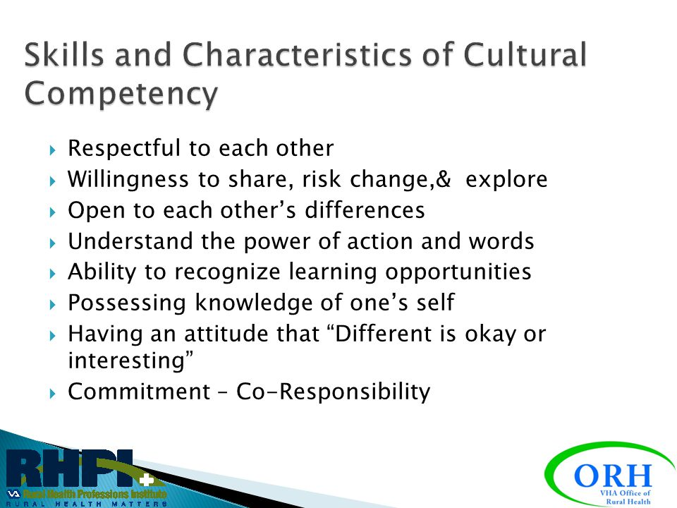Skills and Characteristics of Cultural Competency