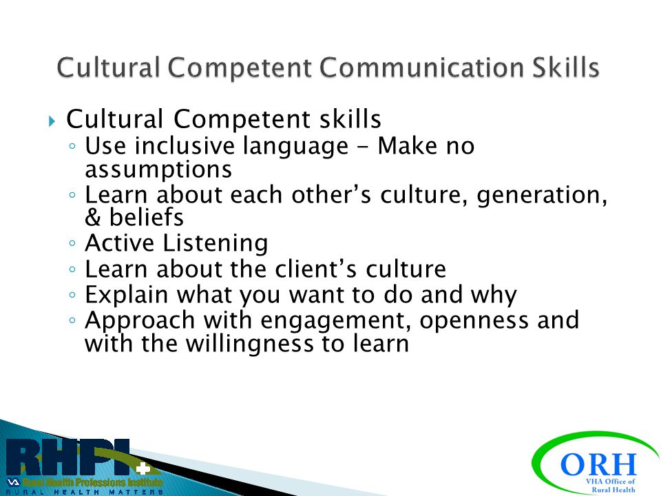 Cultural Competent Communication Skills