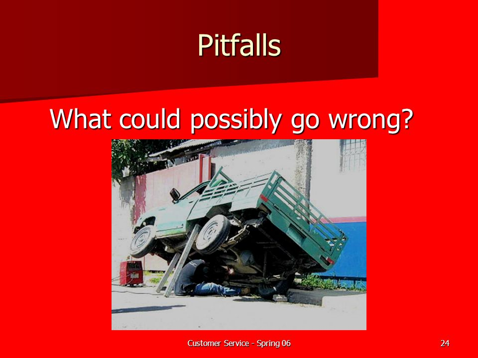 Pitfalls What could possibly go wrong Add to dry erase board: