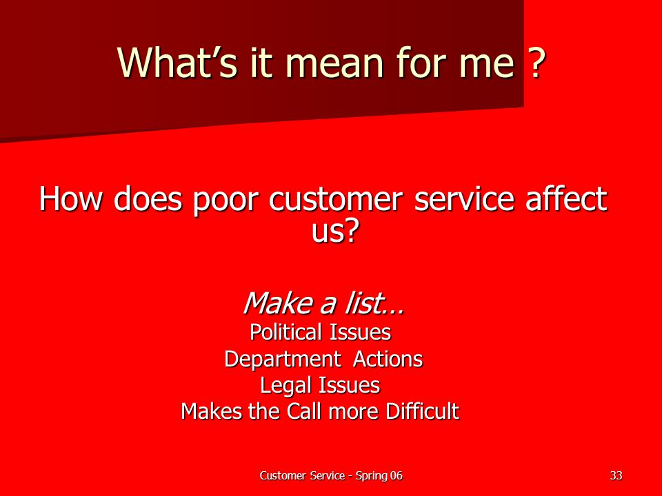What's it mean for me How does poor customer service affect us