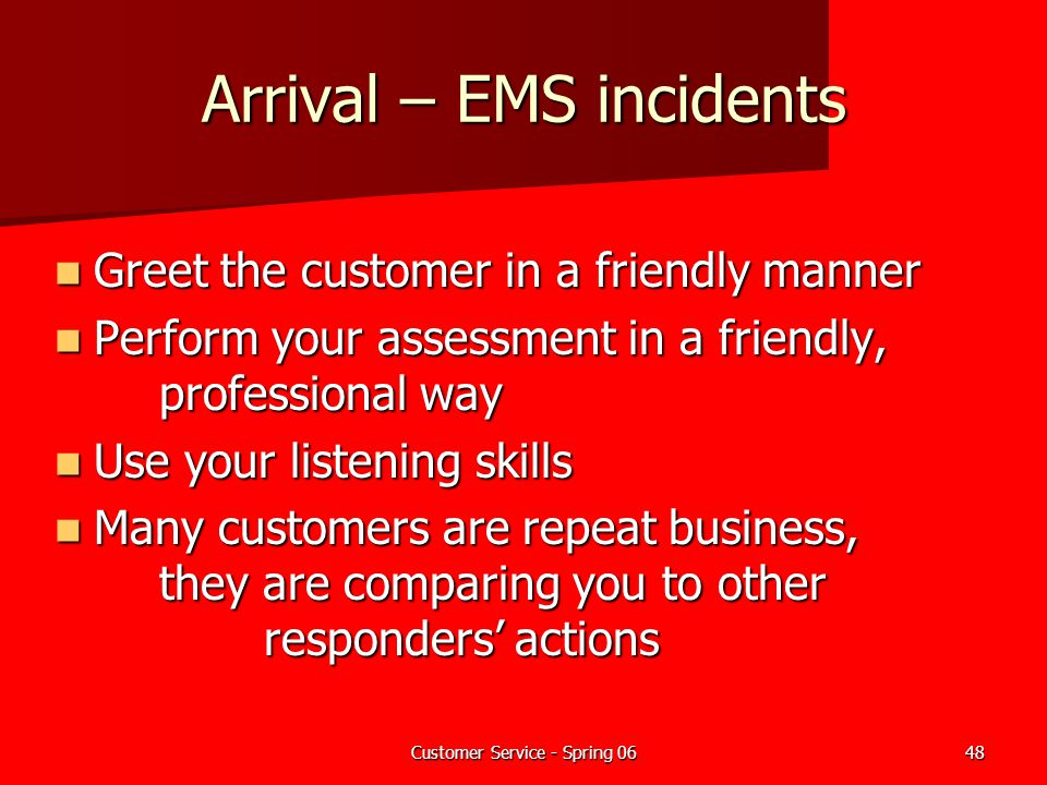 Arrival – EMS incidents
