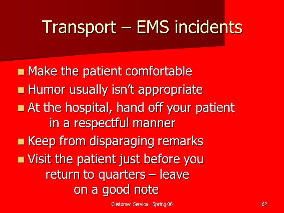Transport – EMS incidents