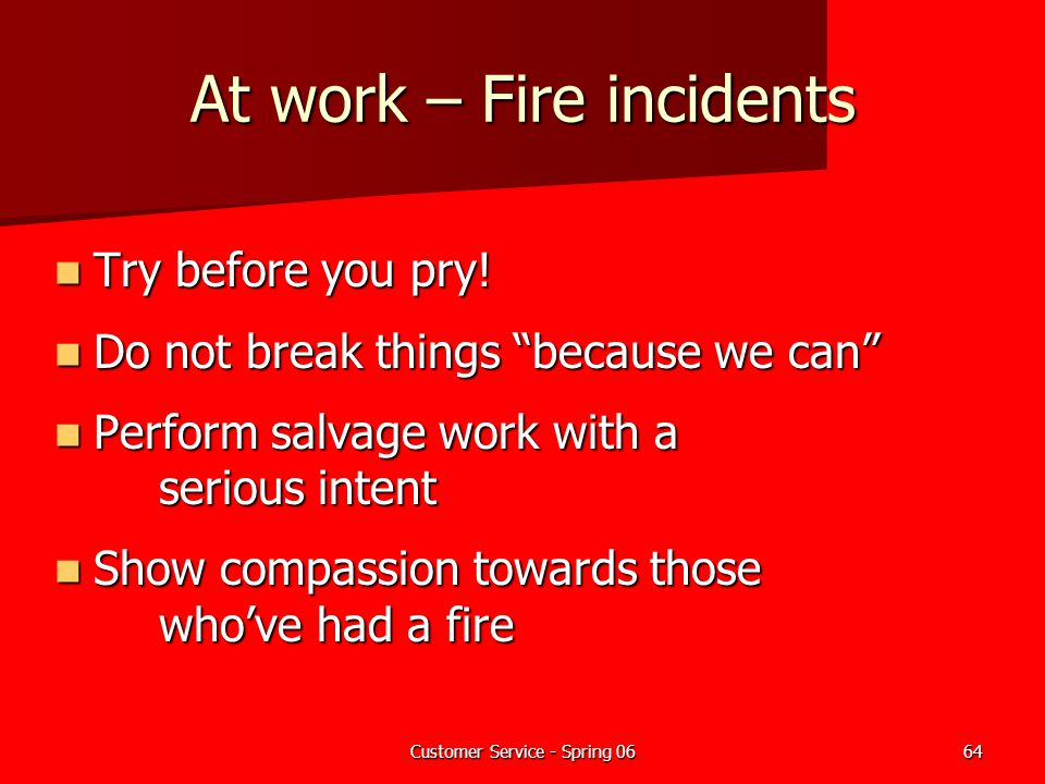 At work – Fire incidents