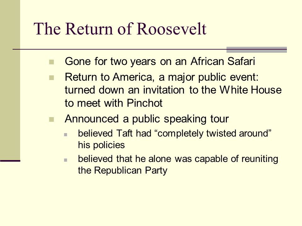 The Return of Roosevelt
