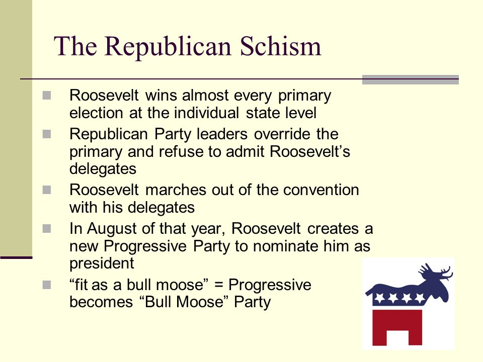 The Republican Schism Roosevelt wins almost every primary election at the individual state level.