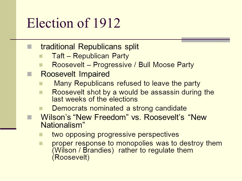 Election of 1912 traditional Republicans split Roosevelt Impaired