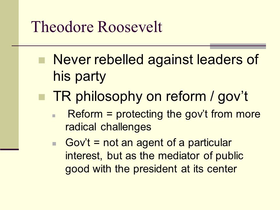 Theodore Roosevelt Never rebelled against leaders of his party