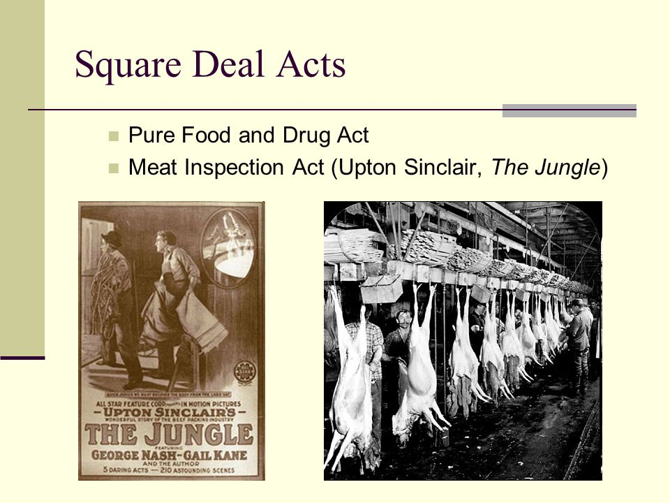 Square Deal Acts Pure Food and Drug Act