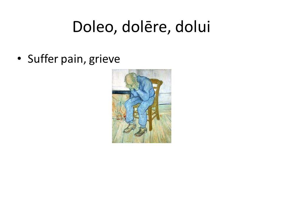 Doleo, dolēre, dolui Suffer pain, grieve