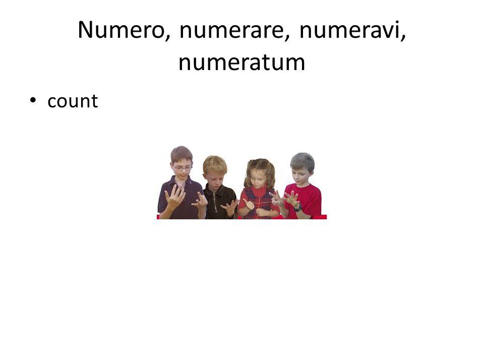 Numero, numerare, numeravi, numeratum