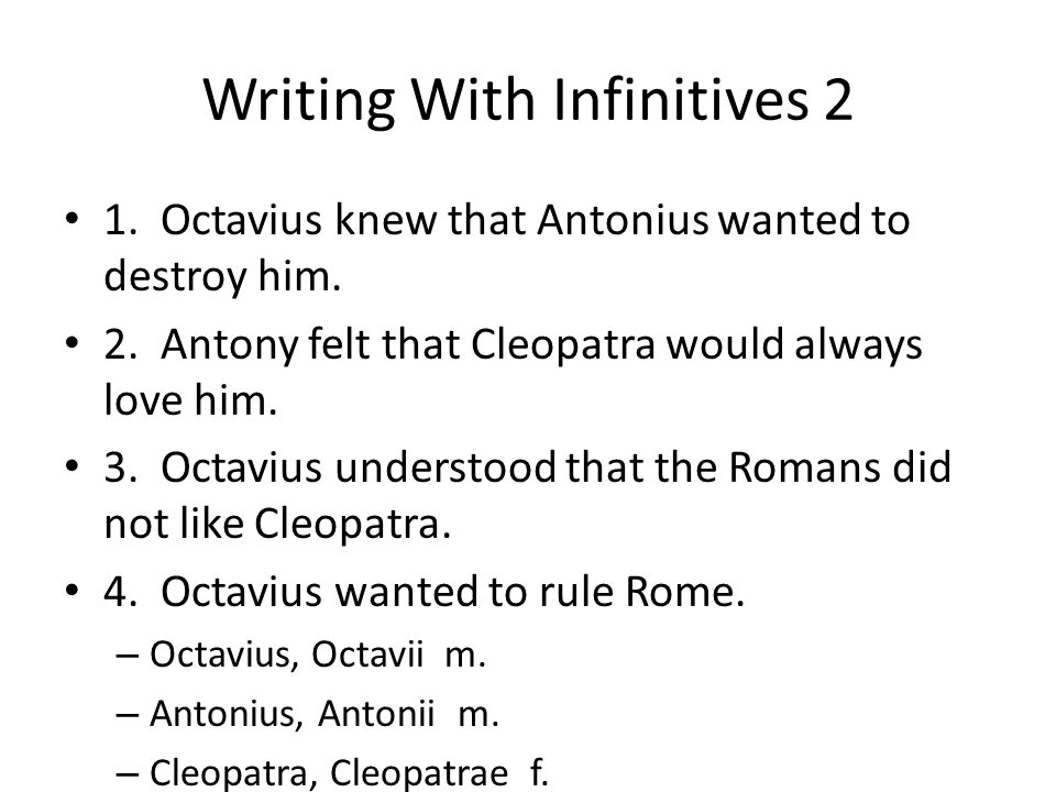 Writing With Infinitives 2
