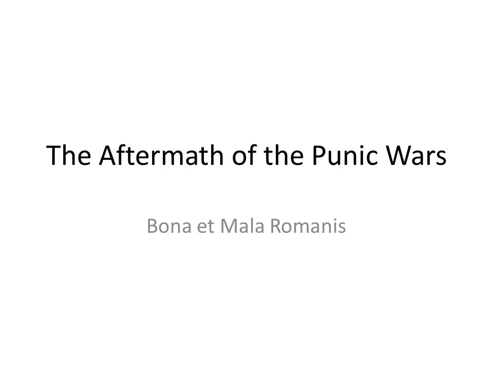 The Aftermath of the Punic Wars