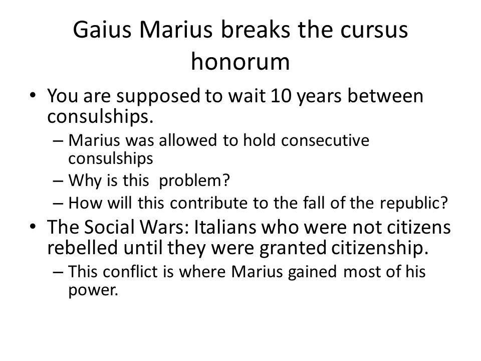 Gaius Marius breaks the cursus honorum