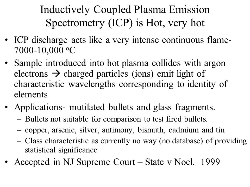 Inductively Coupled Plasma Emission Spectrometry (ICP) is Hot, very hot