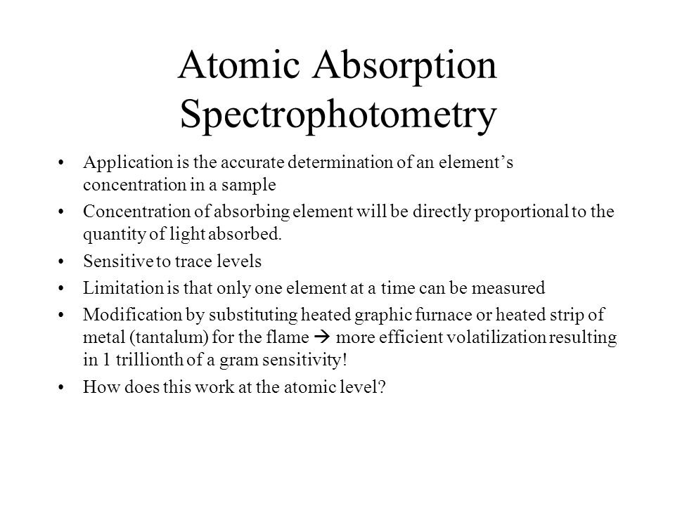 Atomic Absorption Spectrophotometry
