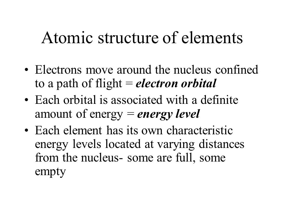 Atomic structure of elements