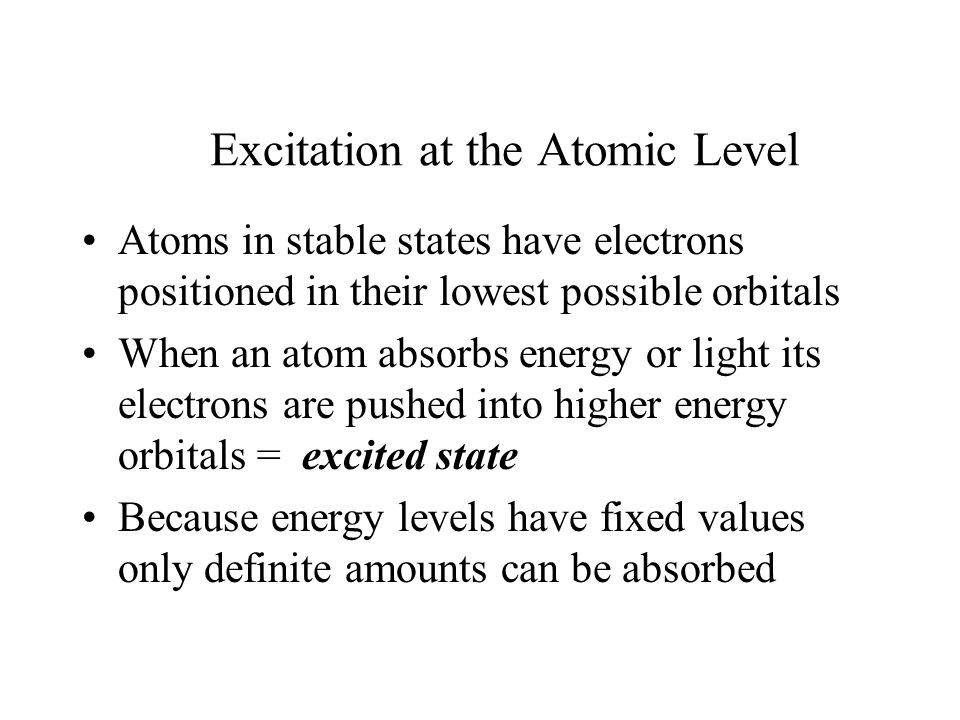 Excitation at the Atomic Level