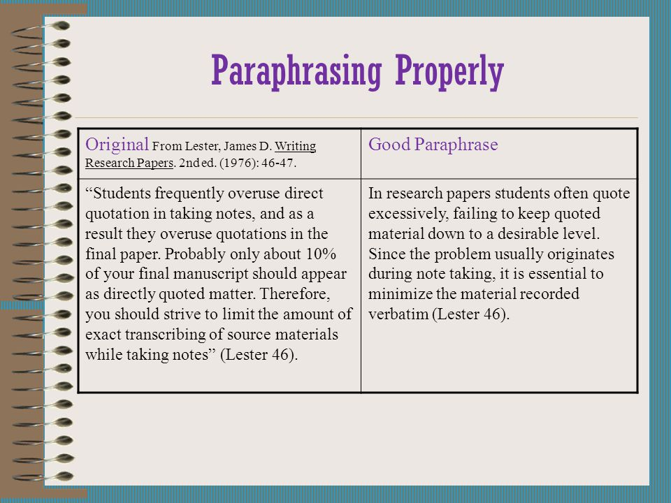 Paraphrasing Properly