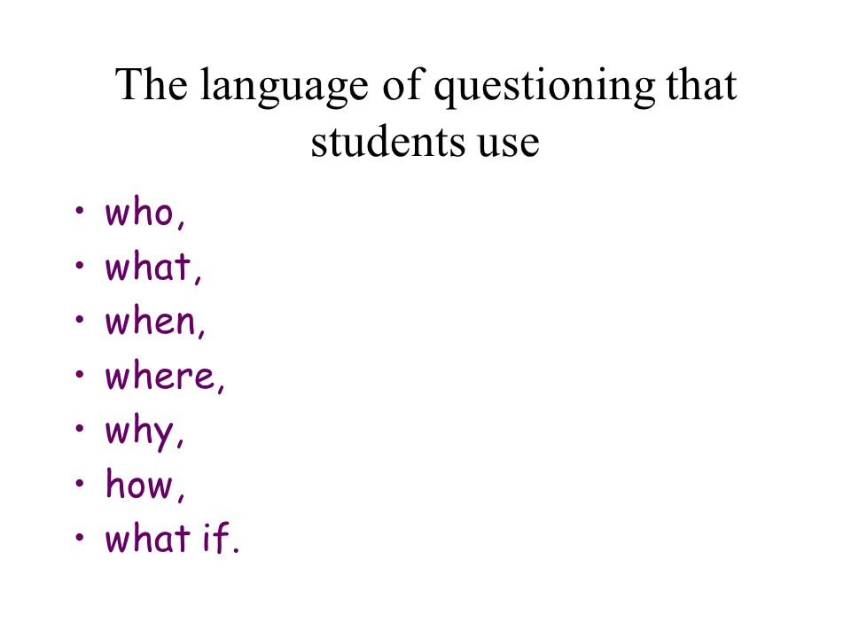 The language of questioning that students use