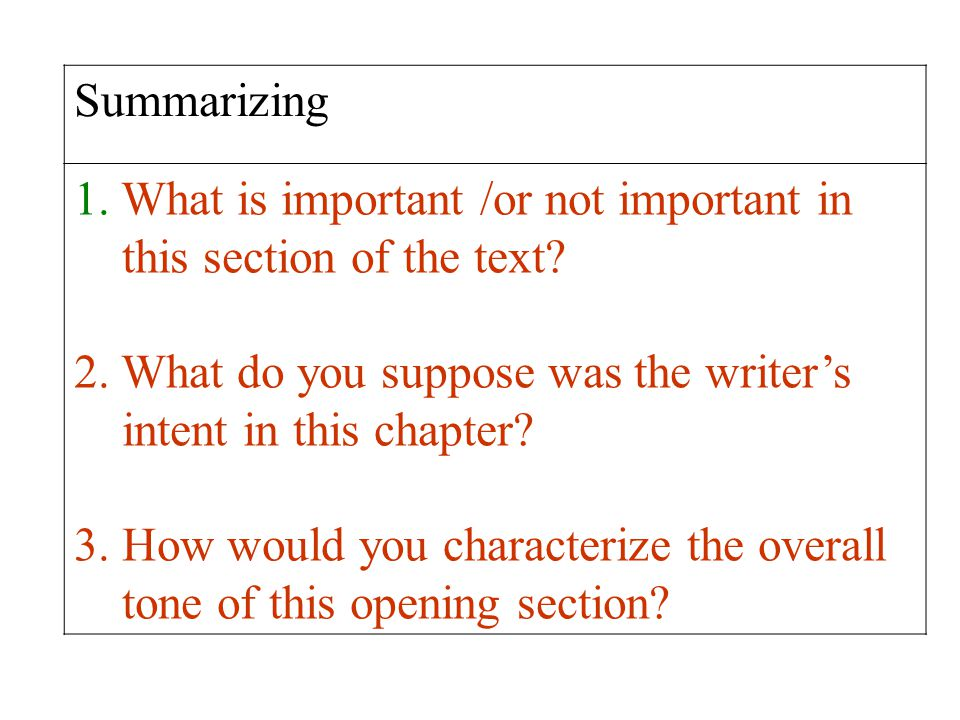 Summarizing What is important /or not important in. this section of the text 2. What do you suppose was the writer's.