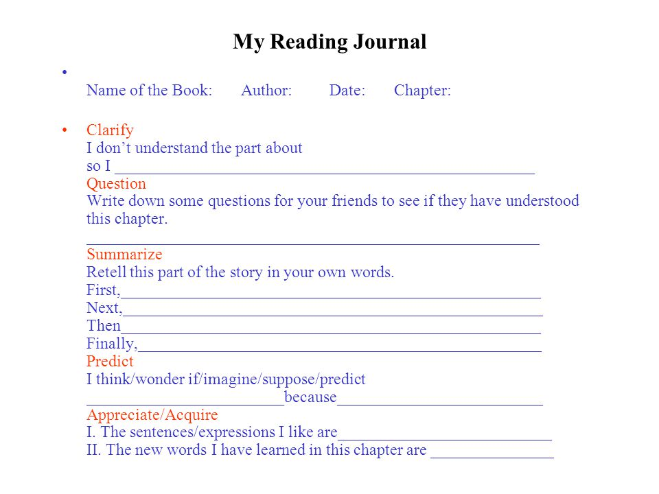 My Reading Journal Name of the Book: Author: Date: Chapter: