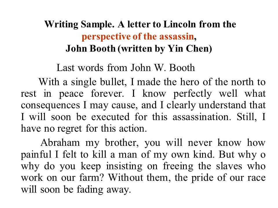 Last words from John W. Booth