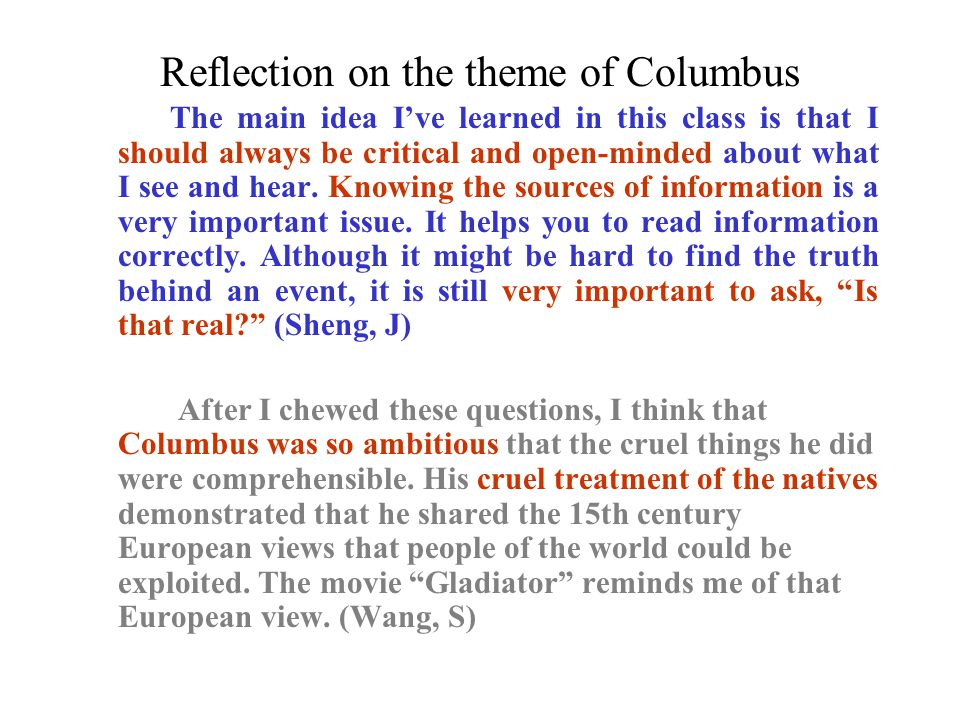 Reflection on the theme of Columbus