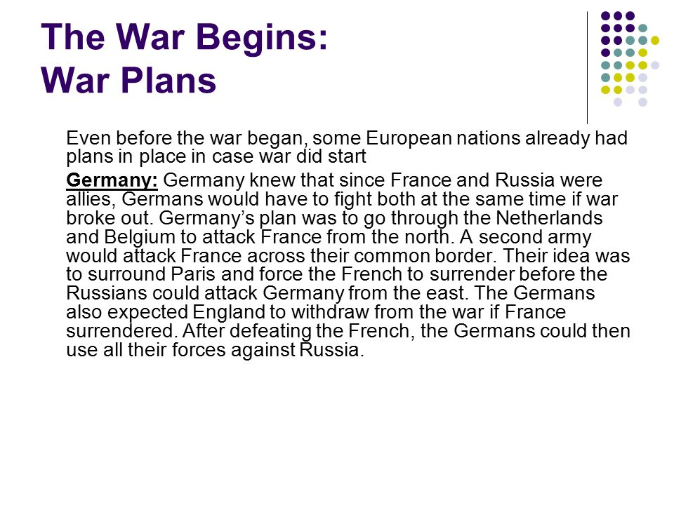 The War Begins: War Plans