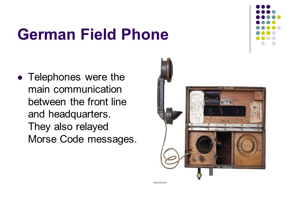 German Field Phone Telephones were the main communication between the front line and headquarters.