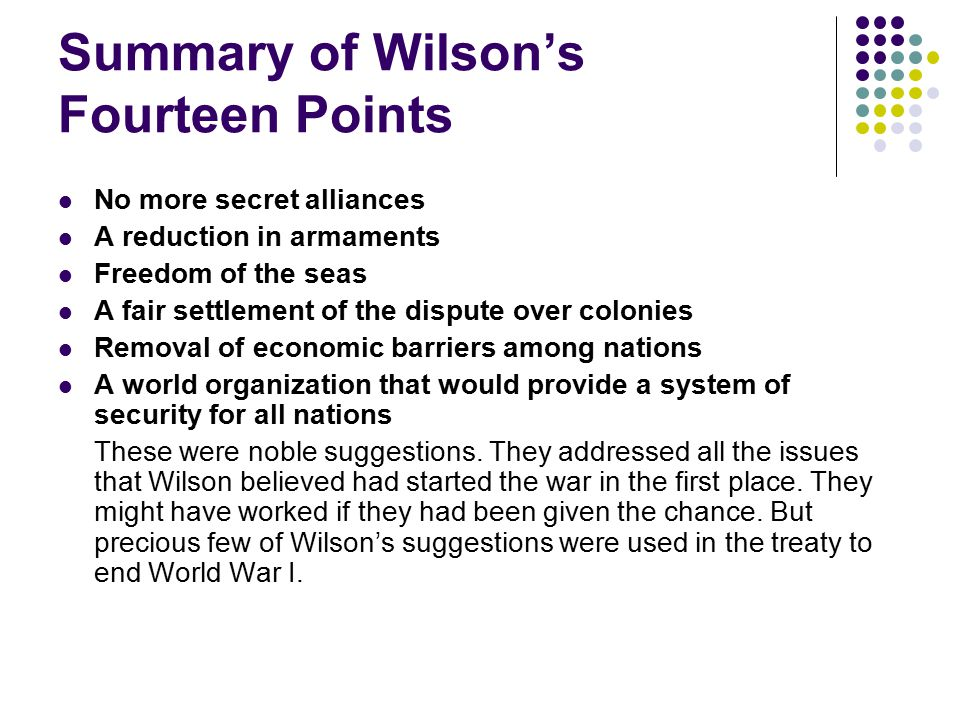 Summary of Wilson's Fourteen Points