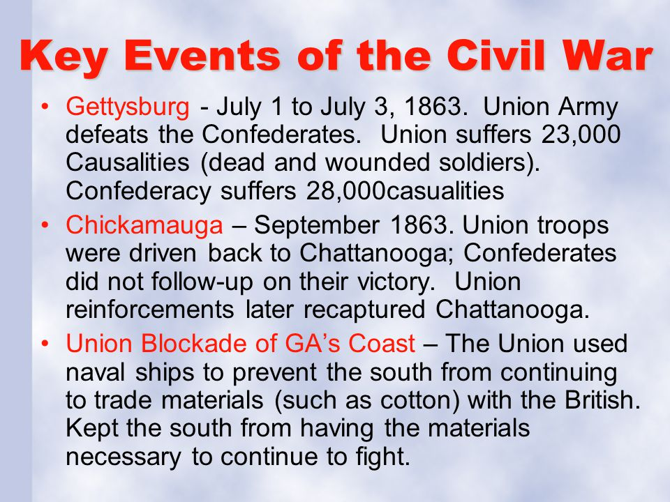 Key Events of the Civil War