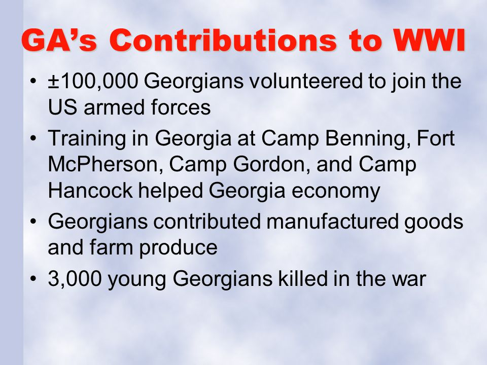GA's Contributions to WWI
