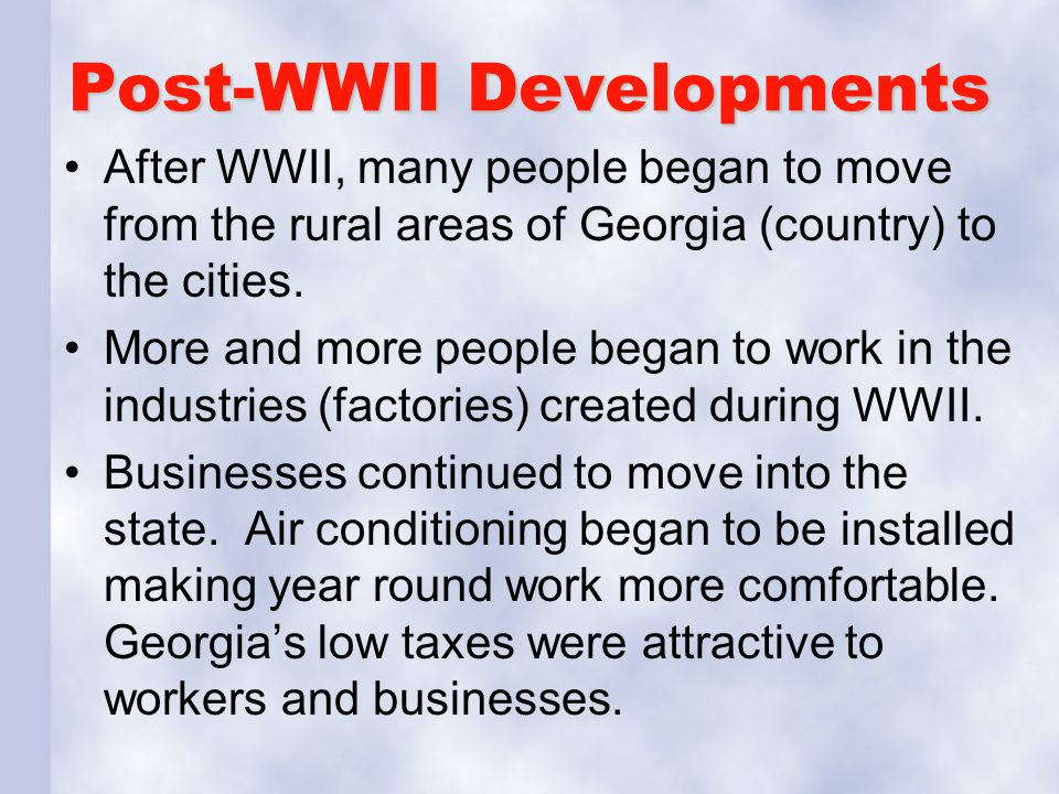 Post-WWII Developments