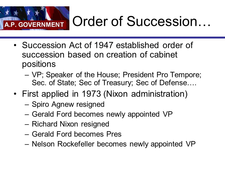 Order of Succession… Succession Act of 1947 established order of succession based on creation of cabinet positions.
