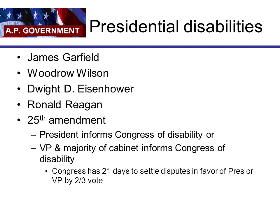Presidential disabilities