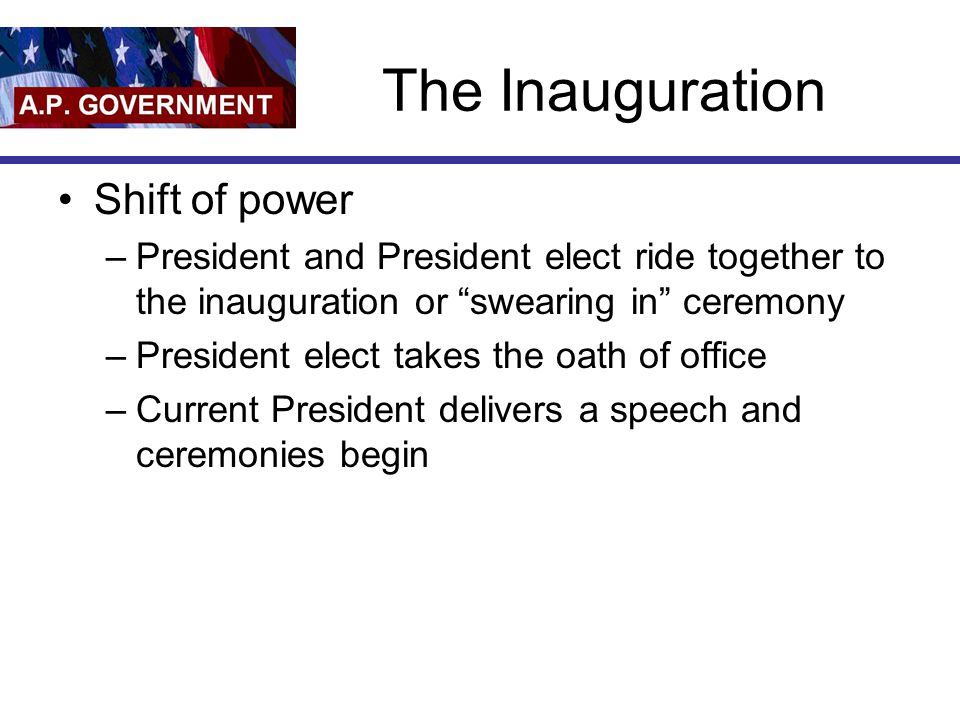 The Inauguration Shift of power