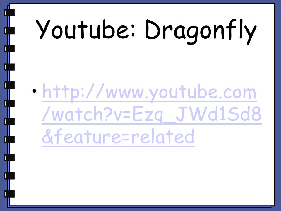 Youtube: Dragonfly http://www.youtube.com/watch v=Ezq_JWd1Sd8&feature=related