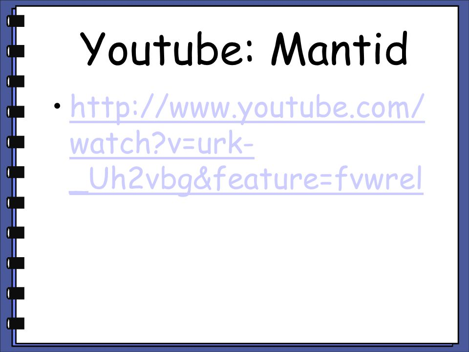 Youtube: Mantid http://www.youtube.com/watch v=urk-_Uh2vbg&feature=fvwrel