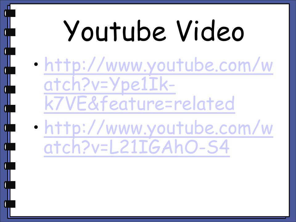 Youtube Video http://www.youtube.com/watch v=Ype1Ik-k7VE&feature=related.