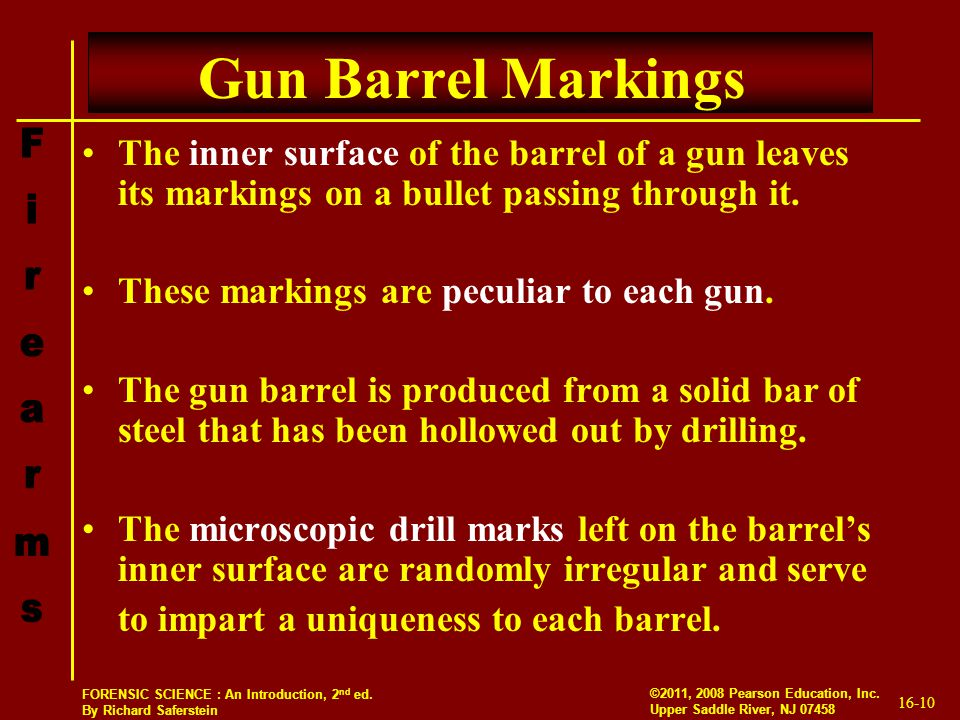 Gun Barrel Markings The inner surface of the barrel of a gun leaves its markings on a bullet passing through it.