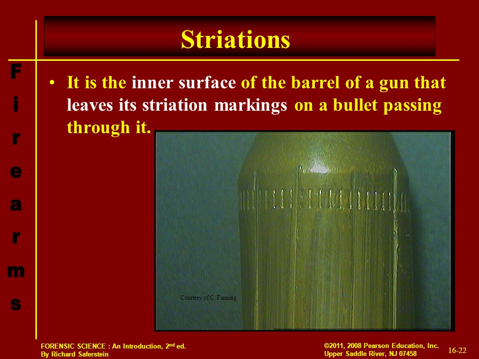 Striations It is the inner surface of the barrel of a gun that leaves its striation markings on a bullet passing through it.